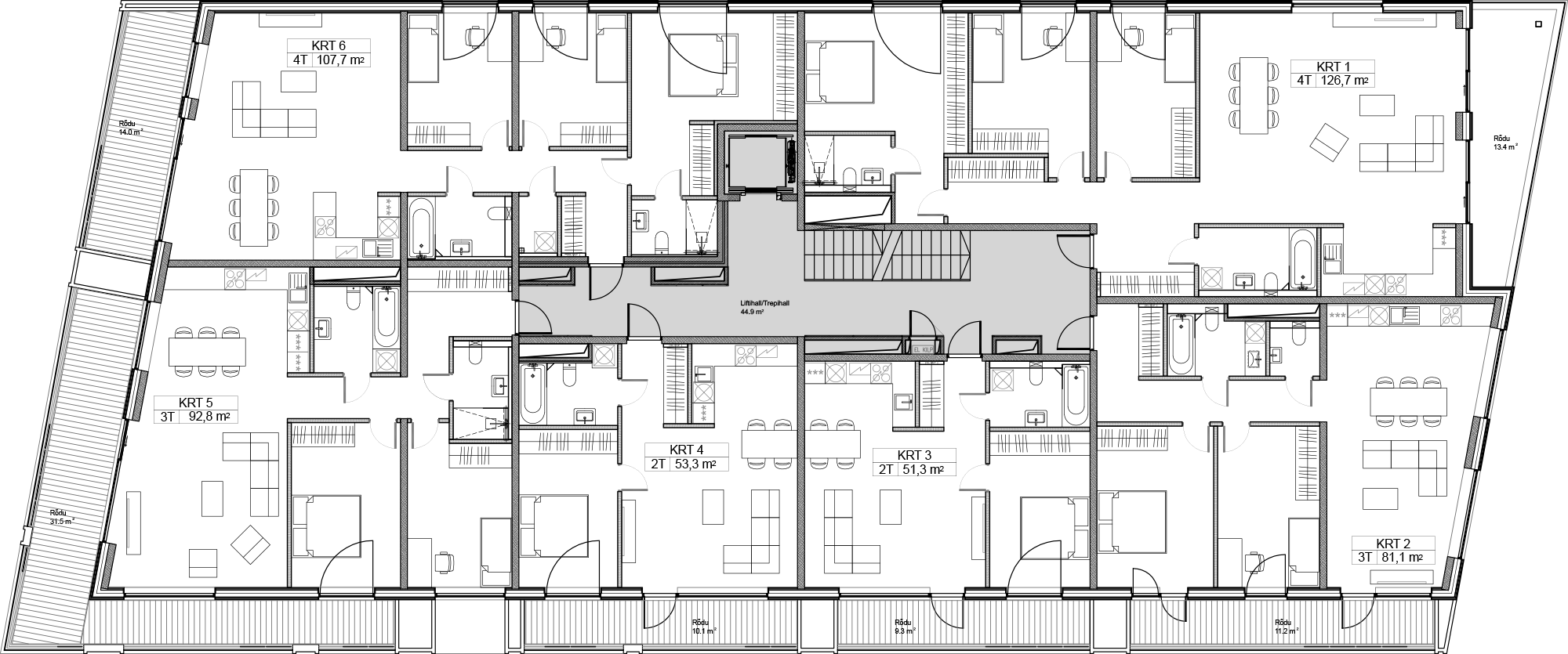 Floor 2 plan of Kiikri Apartment House A