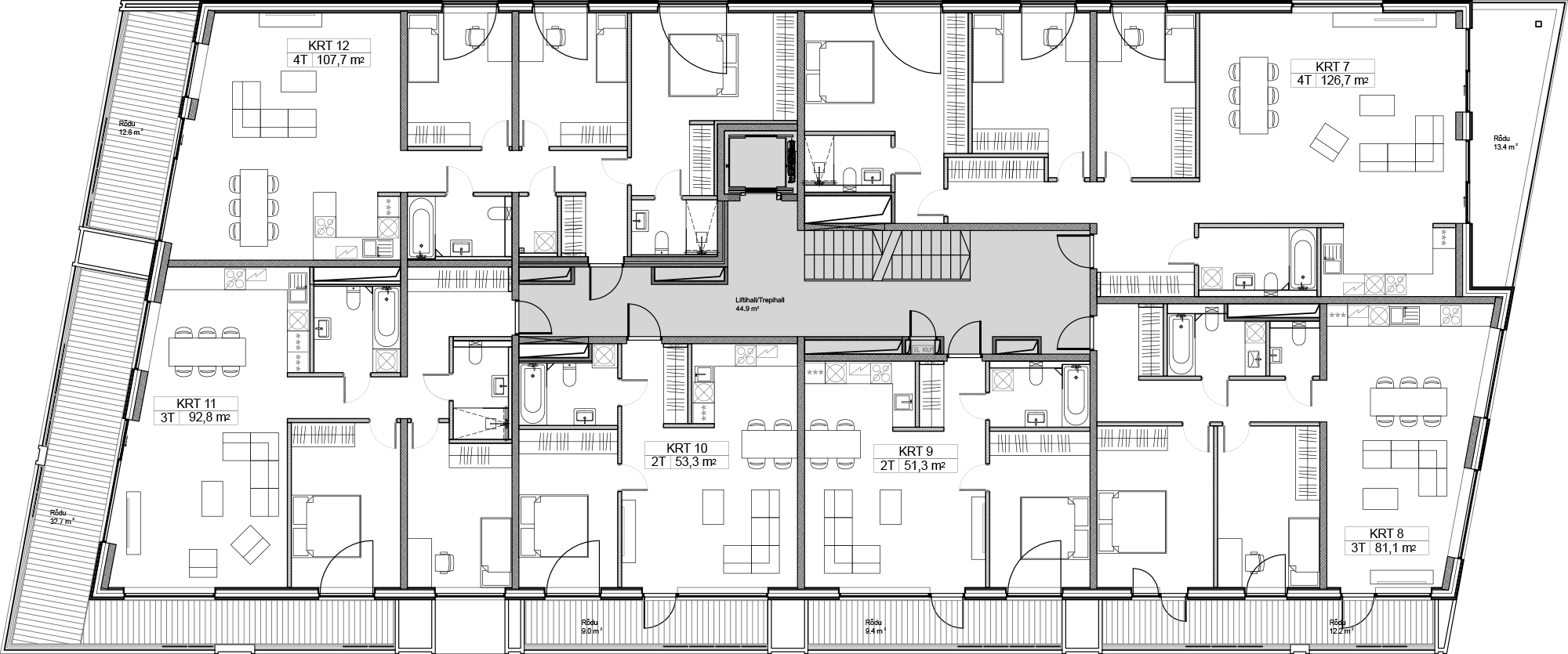 Floor 3 plan of Kiikri Apartment House A