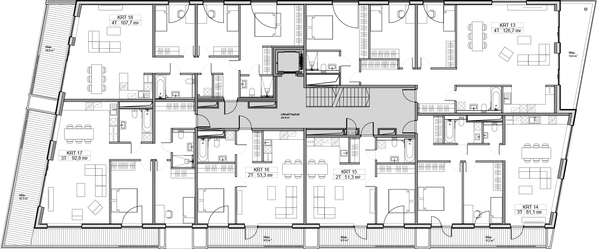 Floor 4 plan of Kiikri Apartment House A