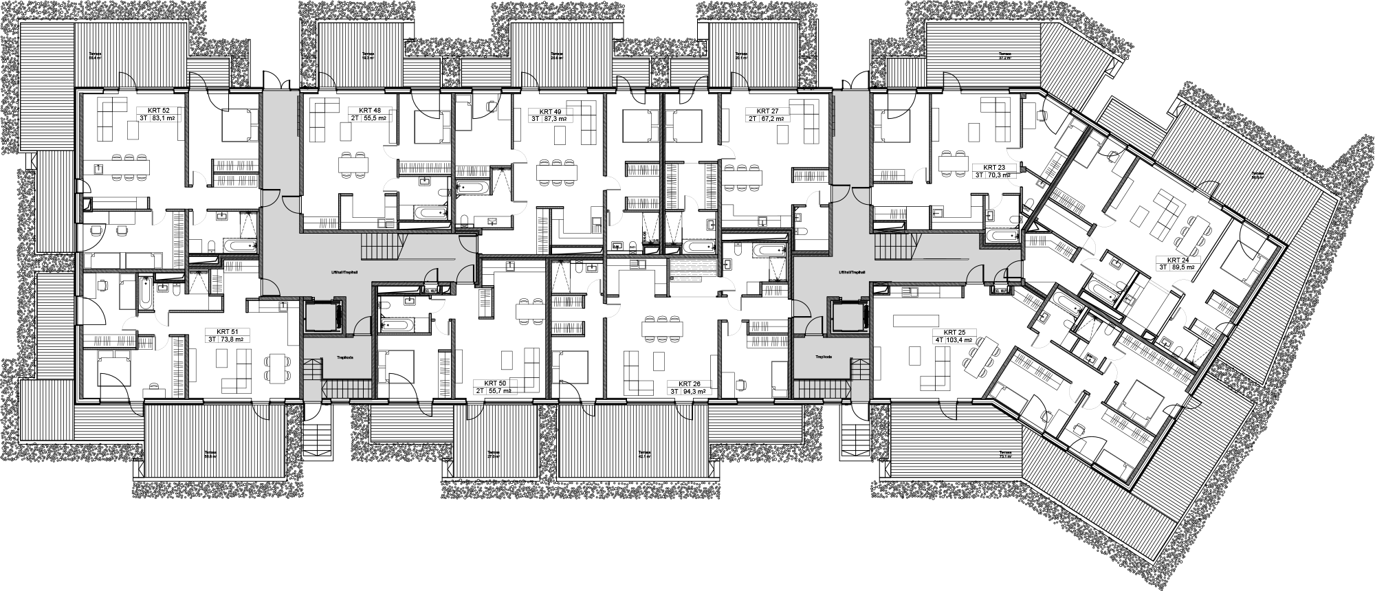 Floor 1 plan of Kiikri Apartment House B