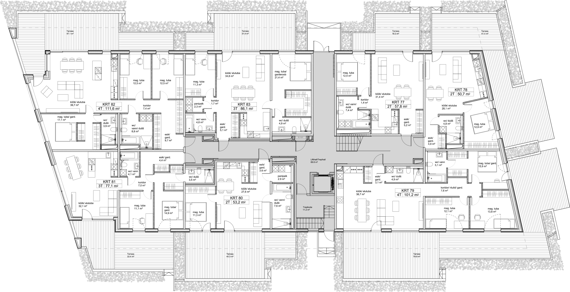 Floor 1 plan of Kiikri Apartment House C