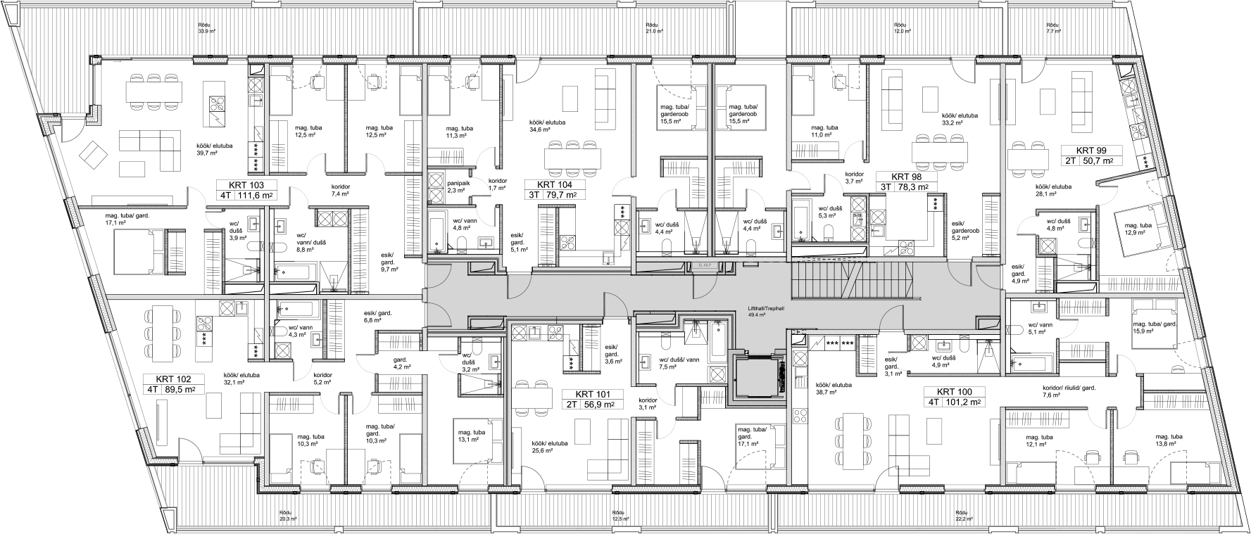 Floor 4 plan of Kiikri Apartment House C
