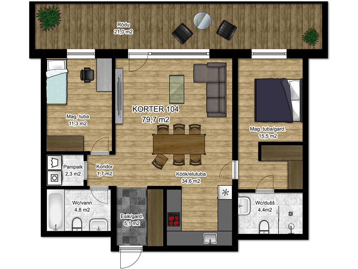 Apartment no 104 plan